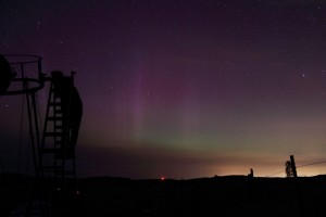 Mike checking M15 through Hercules with Aurora background